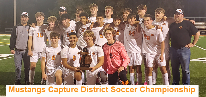 Boys soccer team with district trophy